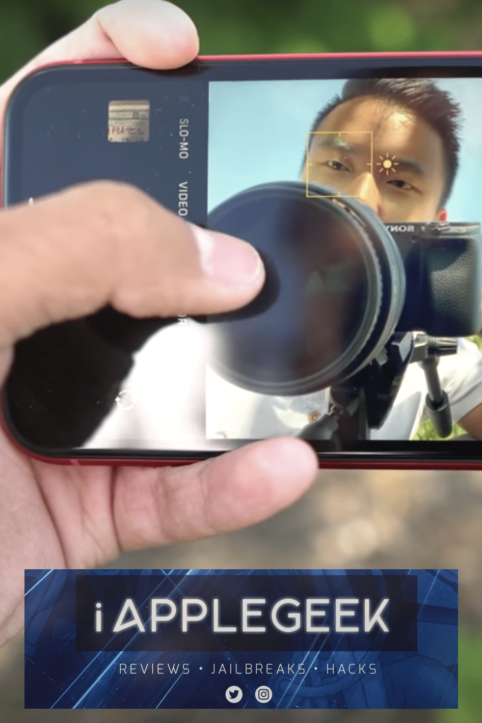 Tech-Selfie of a young man taking a picture of himself using the iPhone 11