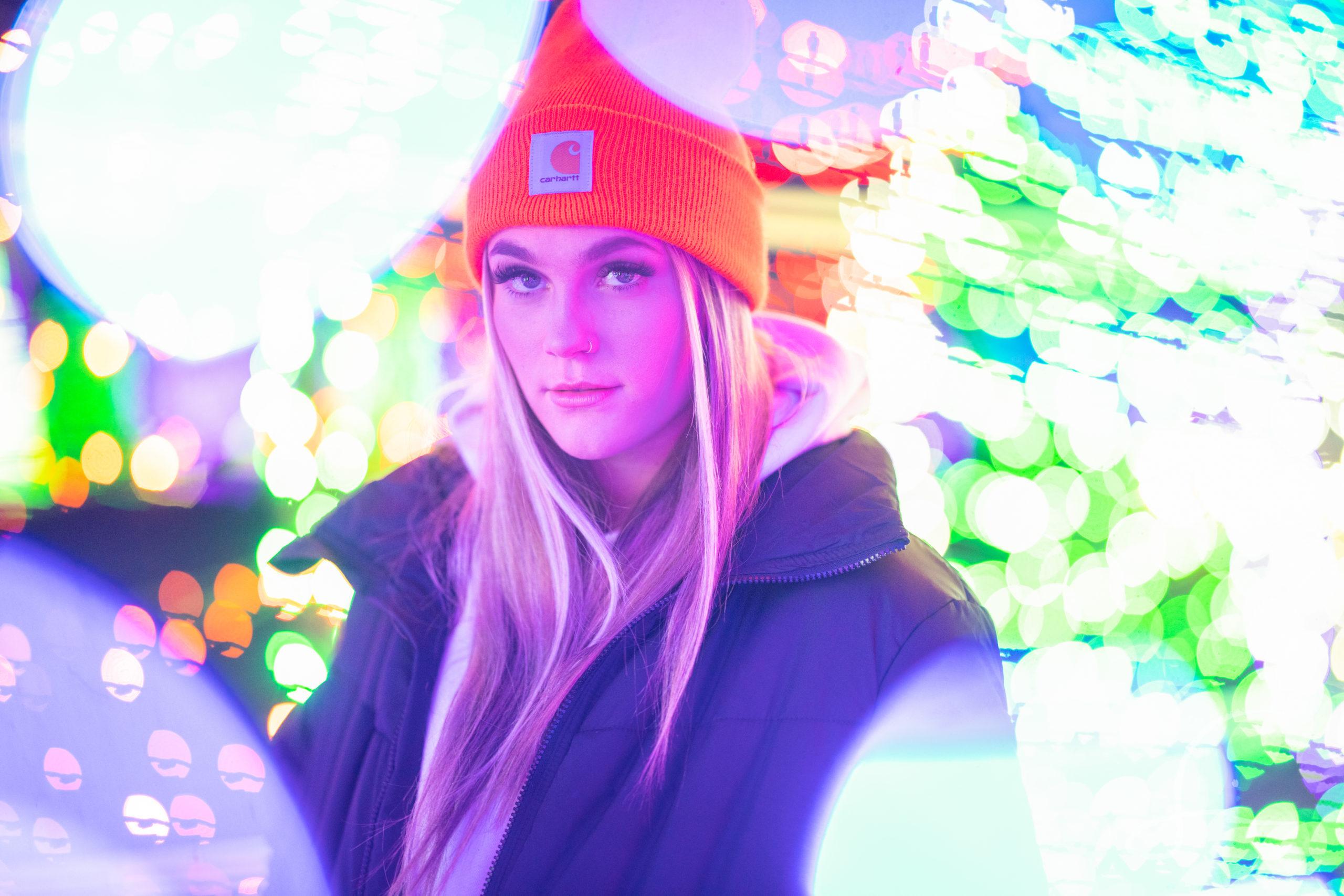 Teen girl headshot with twinkle lights