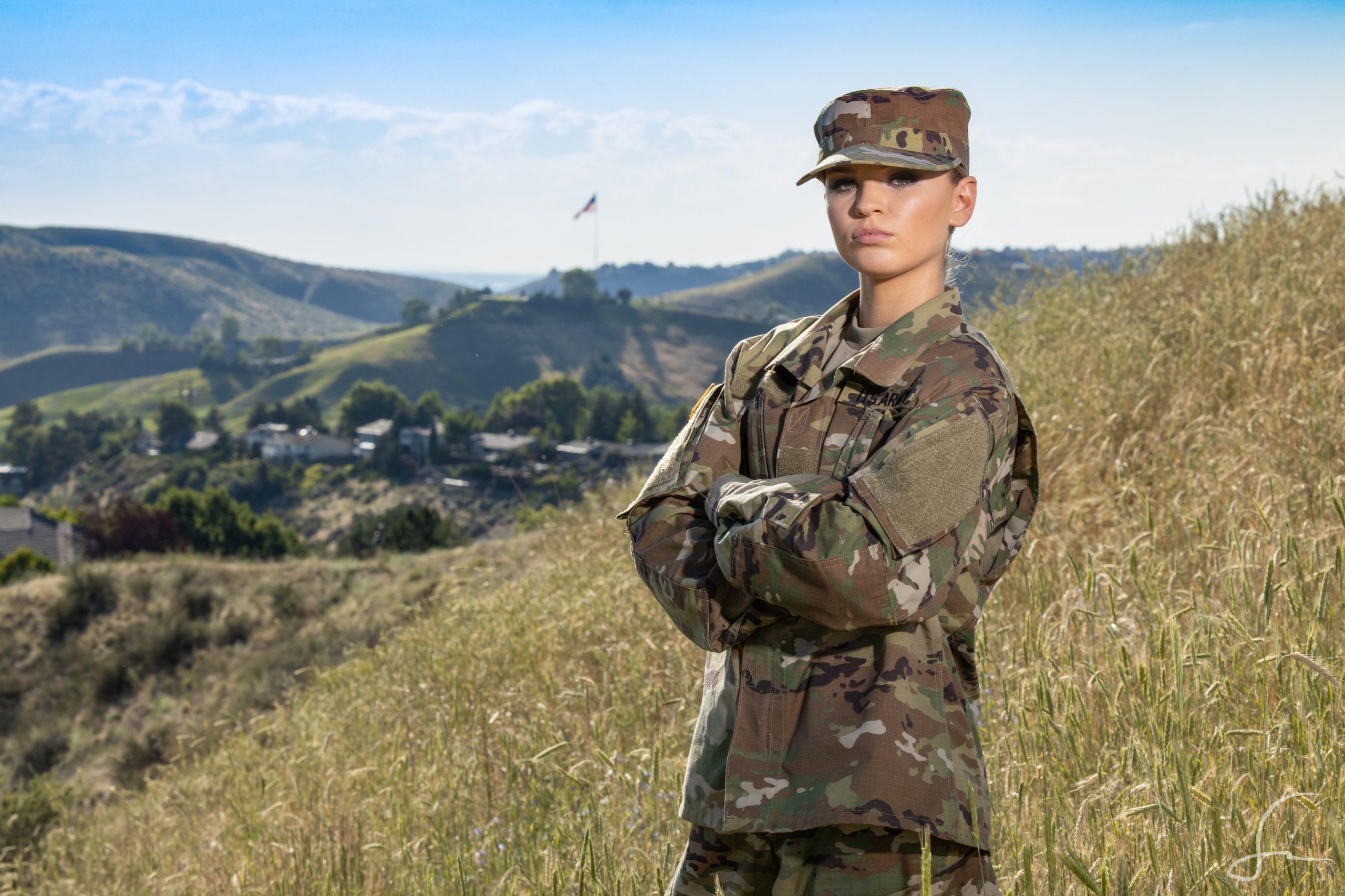 High School Senior in National Guard Uniform on hills above Boise Idaho