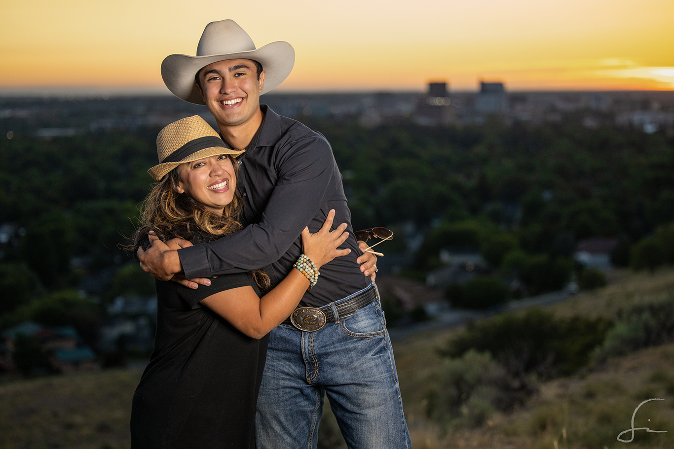 Mother and Son on a hill overlooking the city of Boise