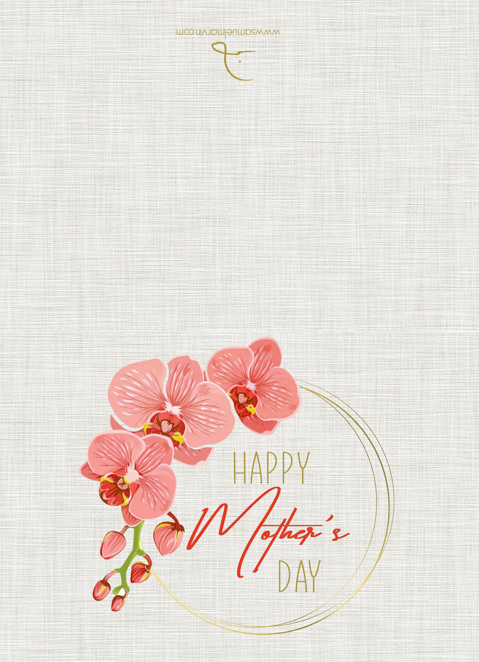 Printable Mother's Day card with pink orchids and gold writting